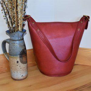 RED Vintage Coach XL Duffel Sac Feed Bag #9085